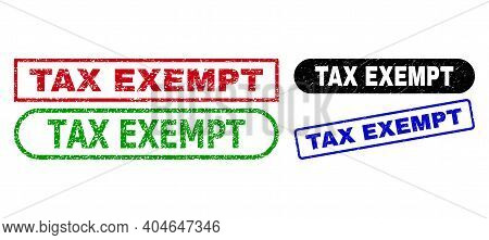 Tax Exempt Grunge Seal Stamps. Flat Vector Grunge Stamps With Tax Exempt Message Inside Different Re