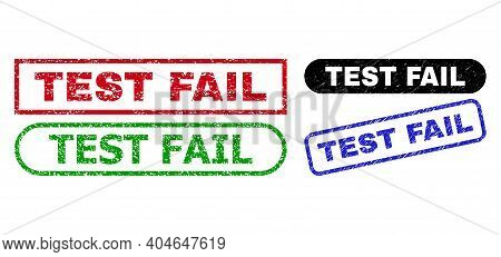 Test Fail Grunge Stamps. Flat Vector Grunge Seal Stamps With Test Fail Phrase Inside Different Recta