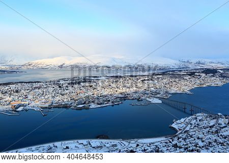 General View Of Tromso, Norway During Winter
