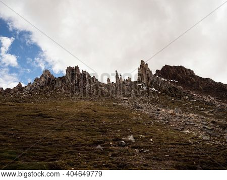 Panorama View Of Bosque De Piedras Stone Forest Rock Formation Landscape At Palccoyo Rainbow Mountai
