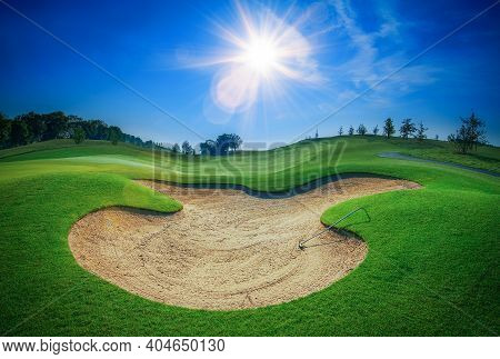 Sand Bunker At The Beautiful Golf Course.