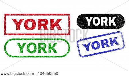 York Grunge Seal Stamps. Flat Vector Scratched Stamps With York Text Inside Different Rectangle And