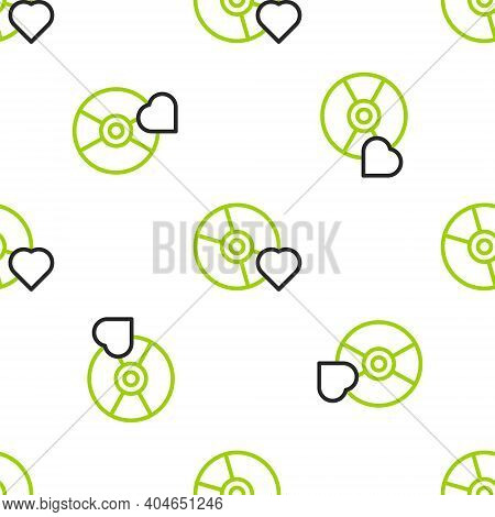 Line Adult Label On Compact Disc Icon Isolated Seamless Pattern On White Background. Age Restriction