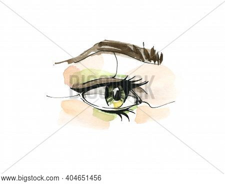Open Eye And Long Eyelashes In Watercolor Technique. Natural Looking Green Eye And Eyebrow. Hand Dra