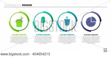 Set Asian Noodles And Chopsticks, Ice Cream, Grilled Shish Kebab And Pizza. Business Infographic Tem