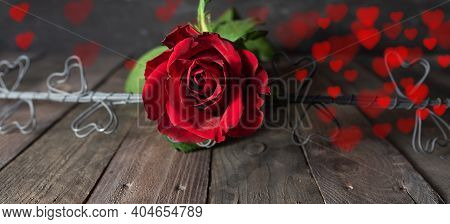 Red Roses With Blurred Floating Hearts On Dark Vintage Background. Romantic Concept With Short Depth