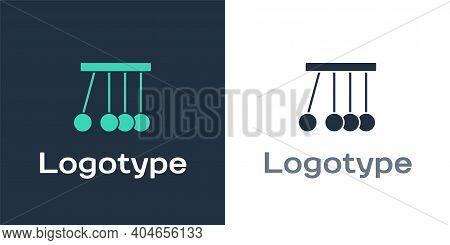 Logotype Pendulum Icon Isolated On White Background. Newtons Cradle. Logo Design Template Element. V
