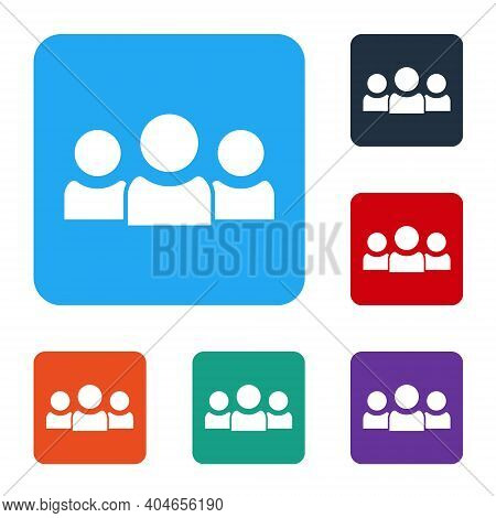White Users Group Icon Isolated On White Background. Group Of People Icon. Business Avatar Symbol -