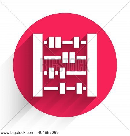 White Abacus Icon Isolated With Long Shadow. Traditional Counting Frame. Education Sign. Mathematics