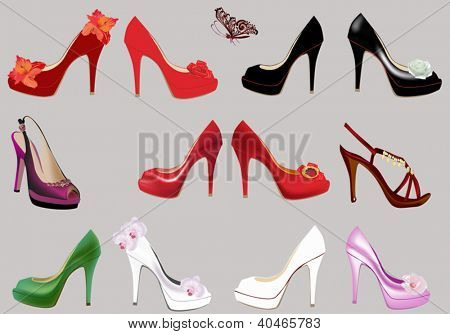 collection of foot-wears isolated on grey background