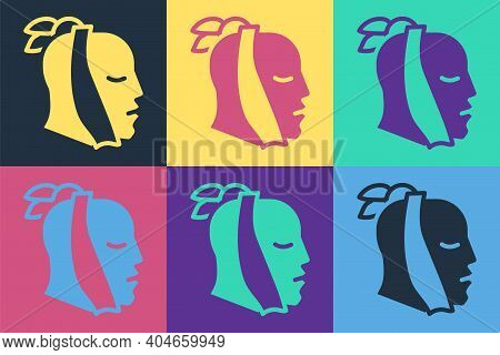 Pop Art Toothache Icon Isolated On Color Background. Vector