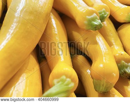 A Bunch Of Fresh Yellow Squash With Green Tips