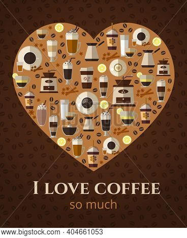 I Love Coffee Sign In Shape Of Heart. Americano And Cappuccino, Espresso Beverage, Hot Mug, Vector I