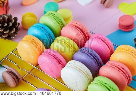 Colorful Macarons Dessert With Vintage Pastel Tones. Colorful French Macarons Background, Different