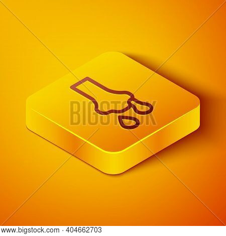 Isometric Line Runny Nose Icon Isolated On Orange Background. Rhinitis Symptoms, Treatment. Nose And