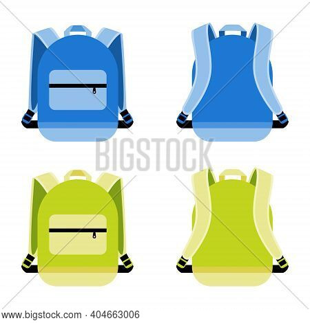 Schoolbag Icon Set. Satchel And Container, Daily Portable Knapsack, Vector Illustration