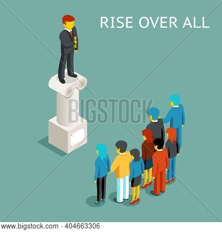 Orator Public Speech. Flat Isometric Conference Or Presentation, Speaker And Leader Rise Over All, P