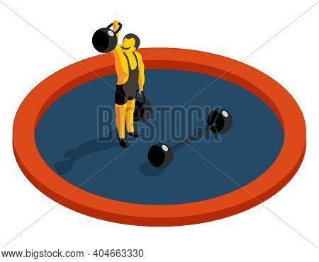 Strongman Lifting Weight. Flat 3d Isometric Vector. Strength Muscular, Sport And Barbell, Artist Man