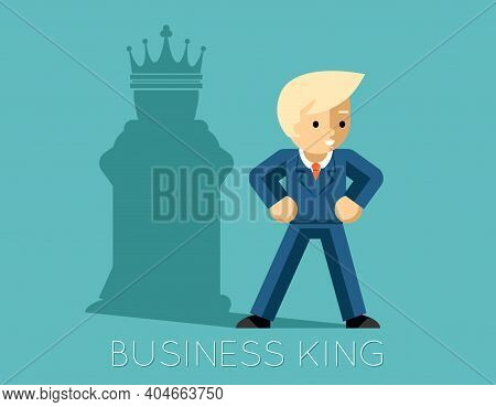 Business King. Businessman With Shadow As Chess King. Man Leader, Success  Boss, Human Ego. Vector I