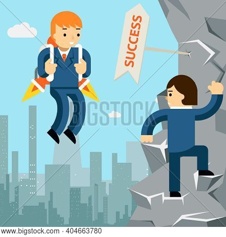 Rise To Success. Businessman With Rocket And Man Climbing Up The Cliff. Vector Illustration