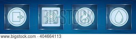Set Fire Exit, Fire Hose Cabinet, Fire Flame And Water Drop. Square Glass Panels. Vector