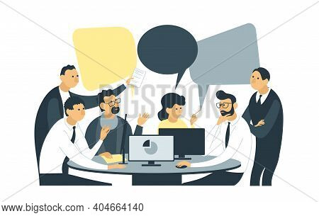 Vector Flat Illustration. Employees Are Sitting At The Negotiating Table. Joint Discussion Of New Pr
