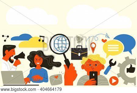 Vector Flat Illustration. Internet Communication, Find Friends On Social Networks, Chat, Website, Me