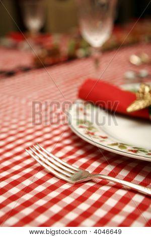 Christmas Table Napkin, Plate And Fork