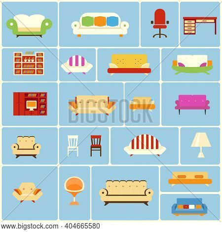 Set Of Furniture Icons Depicting A Different Couch  Settee  Sofa  Armchair  Office Chair  Swivel Cha