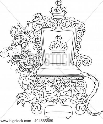 Spiteful And Insidious Old Rat King With A Shabby Tail, Wearing A Crown And A Chain, Grinning From B