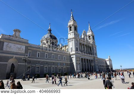 Madrid - Spain, May 01, 2017: The Almudena Cathedral In Madrid. It Is One Of The Attractions Of The