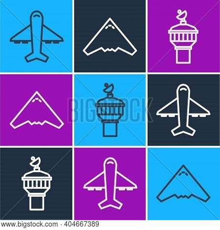 Set Line Plane, Radar And Jet Fighter Icon. Vector