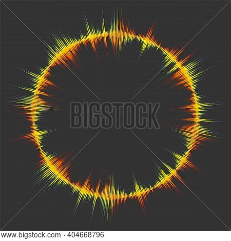 Spectrum Music Wave Background. Modern Pulse Player Technology. Audio Colorful Round Digital Wavefor