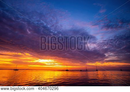 Sunset Sea Beach. Beautiful Nature. Beautiful Sunset At Sea. Beautiful Twilight With Sunset