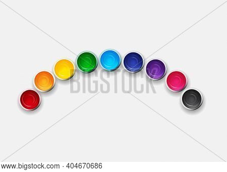 Tins With Gouache, Acrylic Paint Collection Set In Rainbow Colours. Design Elements For Art Backgrou