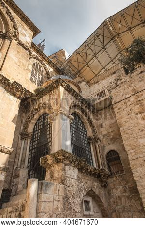 Part Facade Of The Church Of The Holy Sepulchre  In Jerusalem, Israel