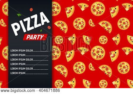 Pizza Party Flyer Poster Background Template. Vector Illustration Eps10
