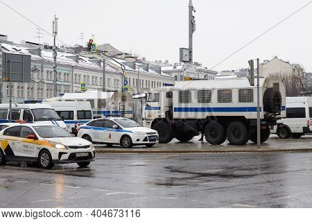 Moscow, Russia, January 23, 2021: Police Vehicles To Detain Protesters At Politics Protests Against
