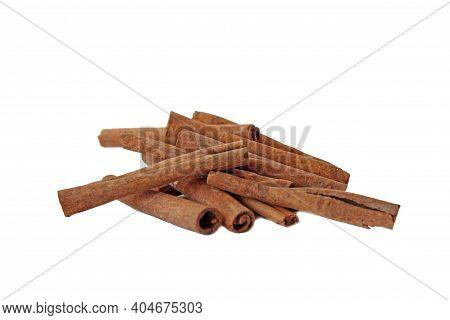 Cinnamon, Cinnamon Sticks Isolated On White Background. Dry Tree Bark.