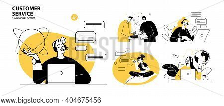 Customer Service Concept Illustrations. Collection Of Individual Scenes For Technical Support Assist