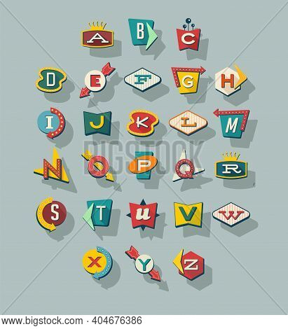 Dimensional Retro Style Signs Alphabet. Letters On Vintage Style Signs. Collection Reminiscent Of 19