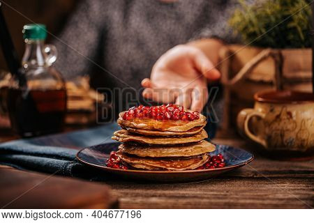 American Pancakes With Delicious Mapple Syrup And Pomegranate