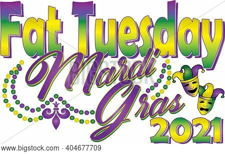 Fat Tuesday Mardi Gras 2021 With Beads And Bright Colors