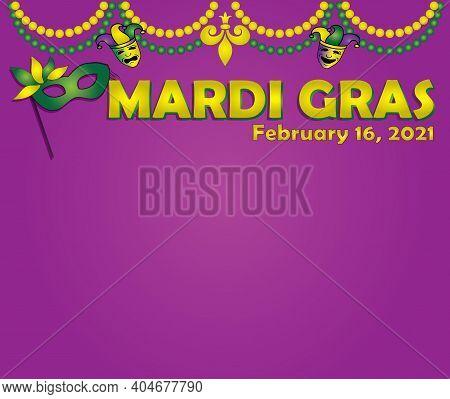 Fat Tuesday Mardi Gras February 16 2021 Decorative Banner