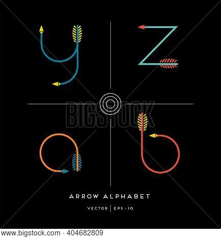 Modern Minimalist Font Alphabet Shaped Like Archery Arrows. Letters A,b,z,y. Vector Illustration.