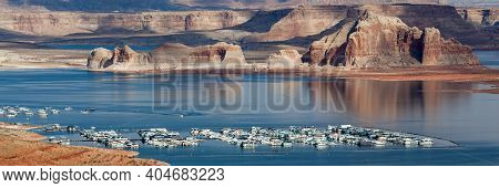 Large Yachts And Party Boats Fill The Wahweap Marina On The Beautiful And Scenic Lake Powell With Er