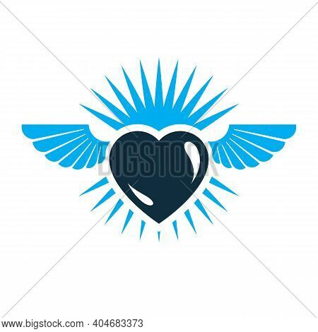 Heart Vector Graphic Illustration, Love And Freedom Metaphor Symbol. Guardian Angel Vector Abstract