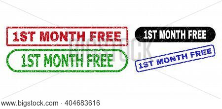 1st Month Free Grunge Seals. Flat Vector Scratched Seals With 1st Month Free Tag Inside Different Re