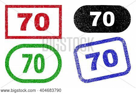 70 Grunge Seal Stamps. Flat Vector Grunge Seal Stamps With 70 Tag Inside Different Rectangle And Rou