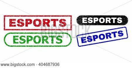Esports Grunge Seal Stamps. Flat Vector Grunge Seal Stamps With Esports Slogan Inside Different Rect